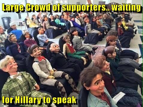 Large Crowd of supporters.. waiting   for Hillary to speak