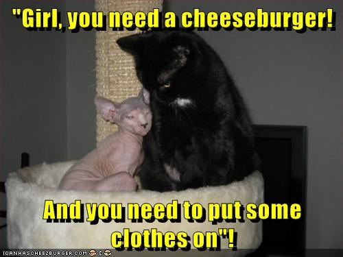 """Girl, you need a cheeseburger! And you need to put some clothes on""!"