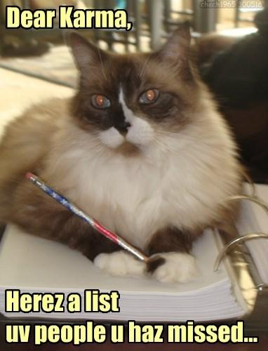 lolcats - Cat - chech1965 300516 Dear Karma, Hereza list uv people u haz missed.