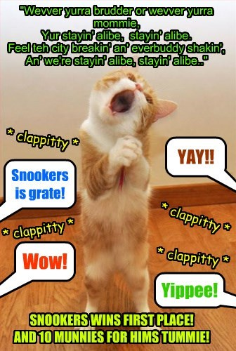 As Mr. Awlthumbs continues as temporary Chef at Kuppykakes Preppy Skool, in desperashun Snookers enters a local Karaoke competition to try win som munnies so he can buy noms for hims hungry tummie!