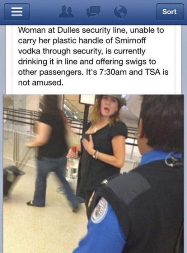 drunk airport failbook facebook Party TSA