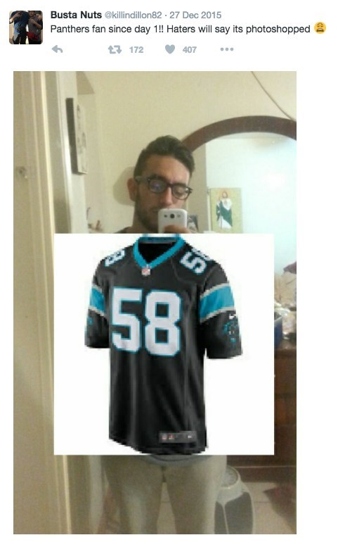 Jersey - Busta Nuts @killindillon82 27 Dec 2015 Panthers fan since day !! Haters will say its photoshopped 1172 407 58