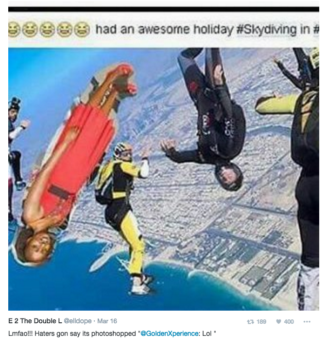 """Cartoon - had an awesome holiday # Skydiving in# E 2 The Double L @elldope Mar 16 13 189 400 Lmfao!! Haters gon say its photoshopped """"@GoldenXperience: Lol"""