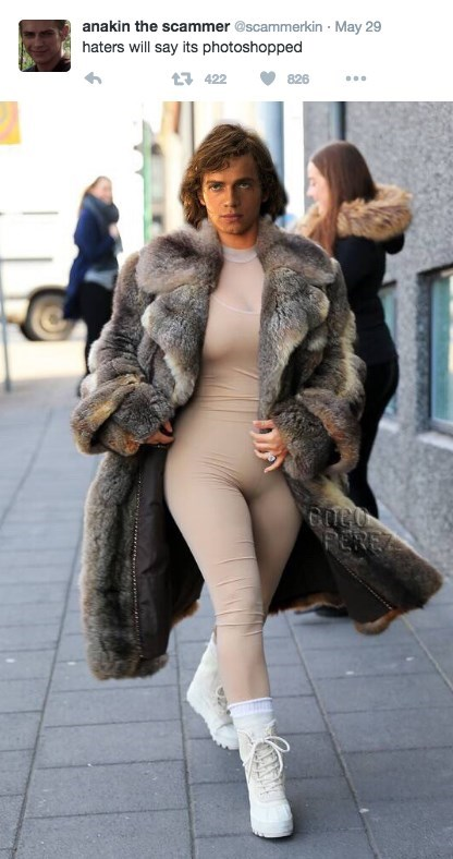 Fur clothing - anakin the scammer @scammerkin May 29 haters will say its photoshopped t 422 826 PEREZ