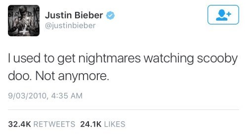 scooby doo twitter justin bieber nightmares