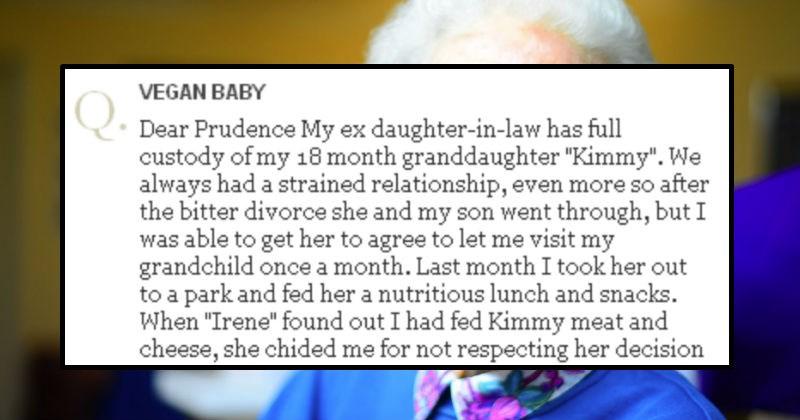 grandma writing to advice columnist regarding vegan granddaughter