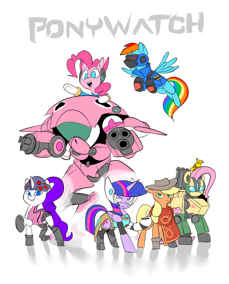 overwatch applejack twilight sparkle pinkie pie rarity fluttershy rainbow dash - 8802455808