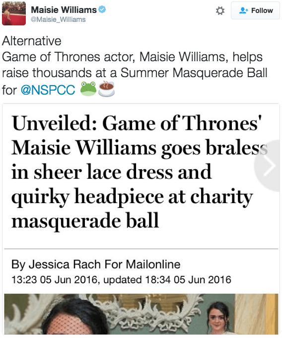 maisie williams shut down a sexist headline with a single tweet