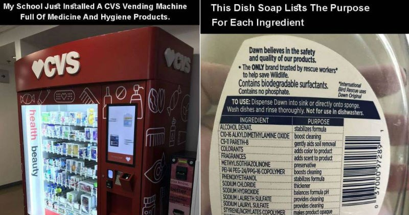 genius ideas such as a cvs machine and an ingredients list that lists the purpose of each ingredient