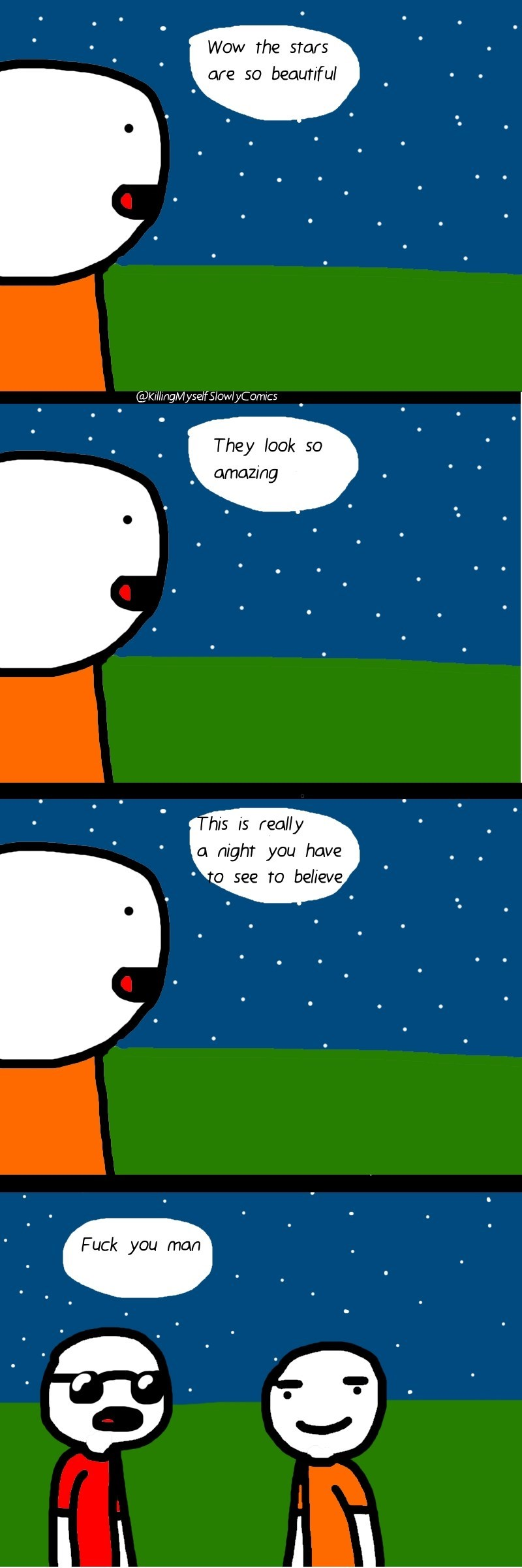 trolling,blind,night sky,stars,space,web comics