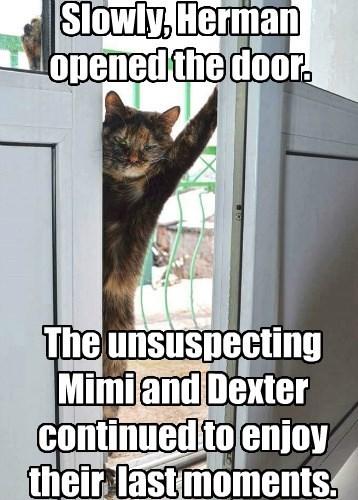 Slowly, Herman opened the door.