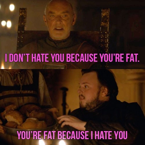 Photo caption - I DON'T HATE YOU BECAUSE YOU'RE FAT YOU'RE FAT BECAUSE I HATE YOU