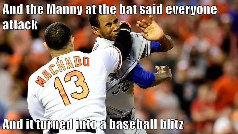 And the Manny at the bat said everyone attack  And it turned into a baseball blitz