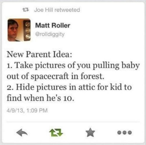 Aliens twitter parenting advice