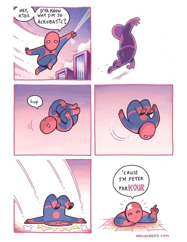 web-comics-funny-peter-parker-wordplay-acrobatic-explanation