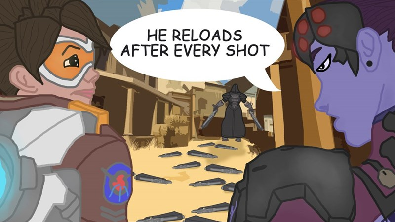 overwatch blizzard reaper tracer video games video game logic funny - 8803922944