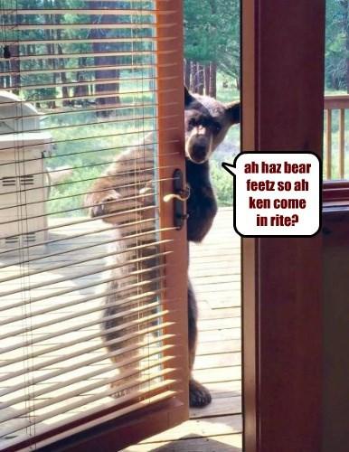ah haz bear feetz so ah ken come in rite?