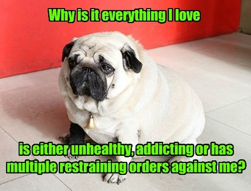 Why is it everything I love is either unhealthy, addicting or has multiple restraining orders against me?