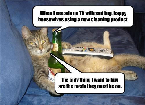 cat cleaning smiling product buy see meds ads TV caption housewives - 8804529664