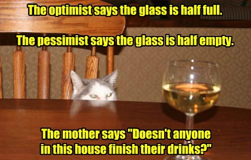 drinks half cat optimist mother pessimist finish glass full caption half empty - 8804534528