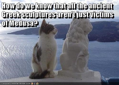 ancient,victims,medusa,greek mythology,sculptures,caption,Cats
