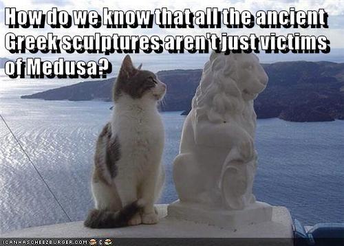 animals ancient victims medusa greek mythology sculptures caption Cats - 8804602112