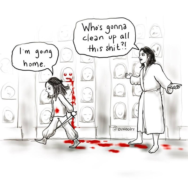 a girl should clean up after herself