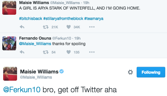 maisie williams has no patience for people that complain about got spoilers