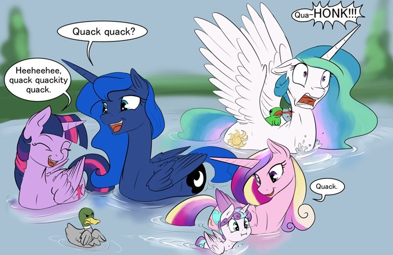 princess cadence,flurry heart,twilight sparkle,princess luna,princess celestia,quack