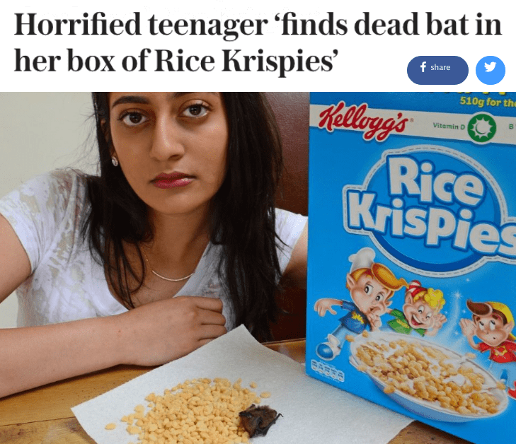 fail image girl finds dead bat in Rice Krispies cereal