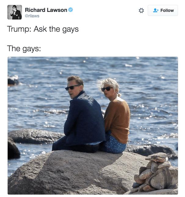 Photograph - Richard Lawson @rilaws Follow Trump: Ask the gays The gays: