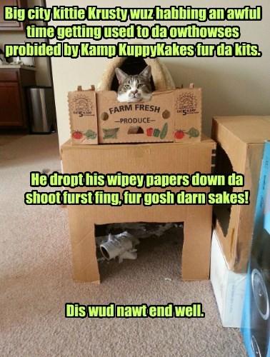 Sum kits habs hard time adjusting to owtdoor life at Kamp KuppyKakes.
