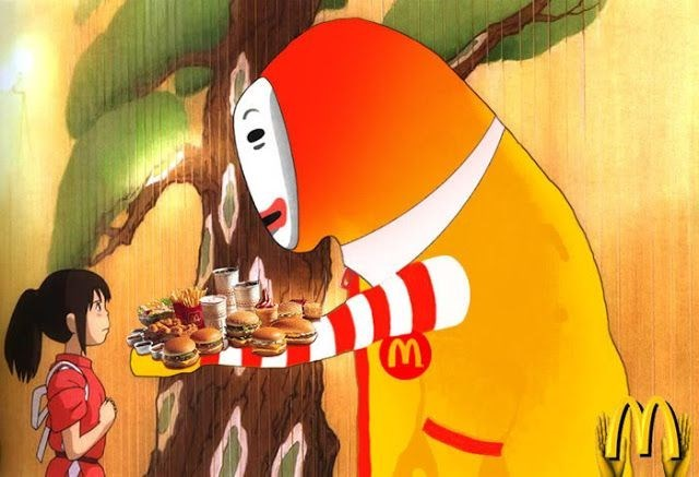 no face,anime,McDonald's,studio ghibli,food,spirited away