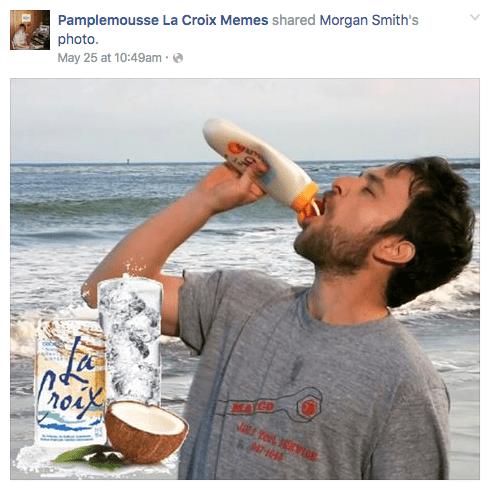 Drinking - Pamplemousse La Croix Memes shared Morgan Smith's photo. May 25 at 10:49am MATGO NE TOL Ves