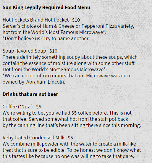 image menu trolling This Is What You Get When a Brewery Is Required to Serve Food