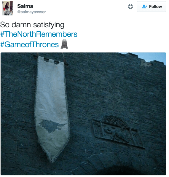 tweet about game of thrones So damn satisfying #TheNorthRemembers #GameofThrones