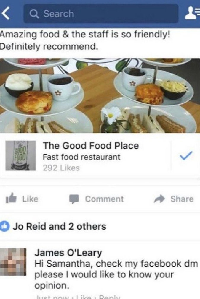 Dish - < Q Search Amazing food & the staff is so friendly! Definitely recommend. The Good Food Place Fast food restaurant 292 Likes ILike Comment Share Jo Reid and 2 others James O'Leary Hi Samantha, check my facebook dm please I would like to know your opinion. Like Danly Iaret now