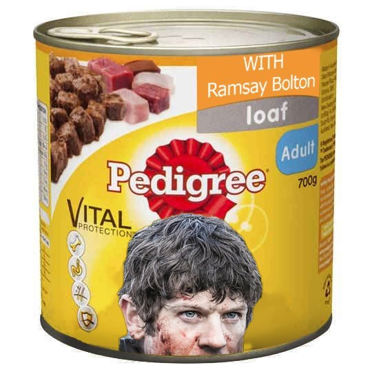 dogs,Pedigree,Game of Thrones,ramsay bolton,food