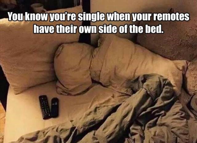 Human - You know you'resingle when your remotes have their ownside of the bed.