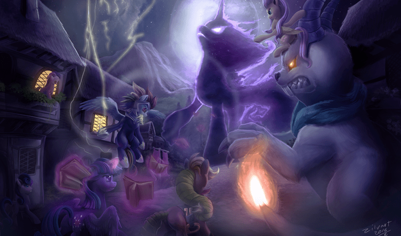 angel,applejack,twilight sparkle,tantabus,power ponies,fluttershy,bon bon,do-princesses-dream-of-magic-sheep,rainbow dash