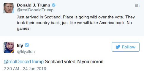 image twitter donald trump Donald Trump Got Immediately Called out on His Clueless Tweet About Brexit