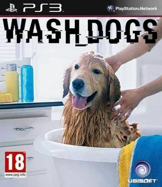 playstation,dogs,wash,fake,video game,funny