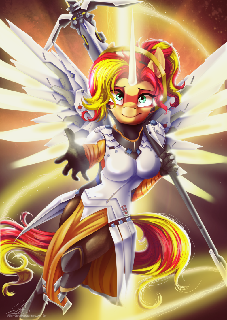 overwatch equestria girls mercy sunset shimmer anthropomorphic - 8811667968