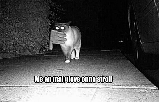 Me an mai glove onna stroll
