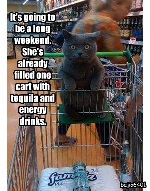 It's going to be a long weekend.  She's already filled one cart with tequila and energy drinks.