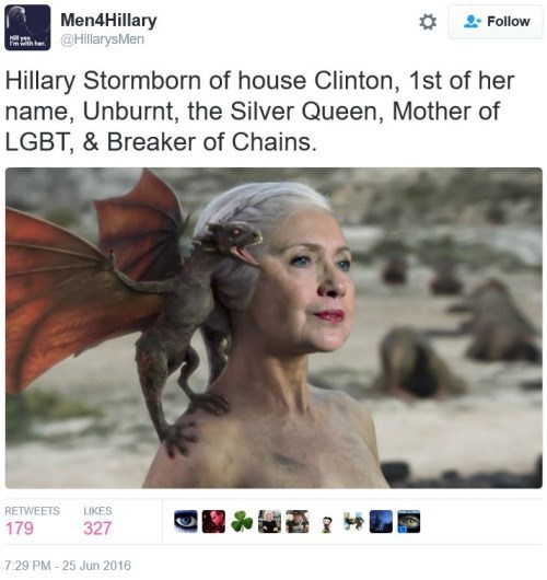 twitter Game of Thrones Hillary Clinton - 8812348160