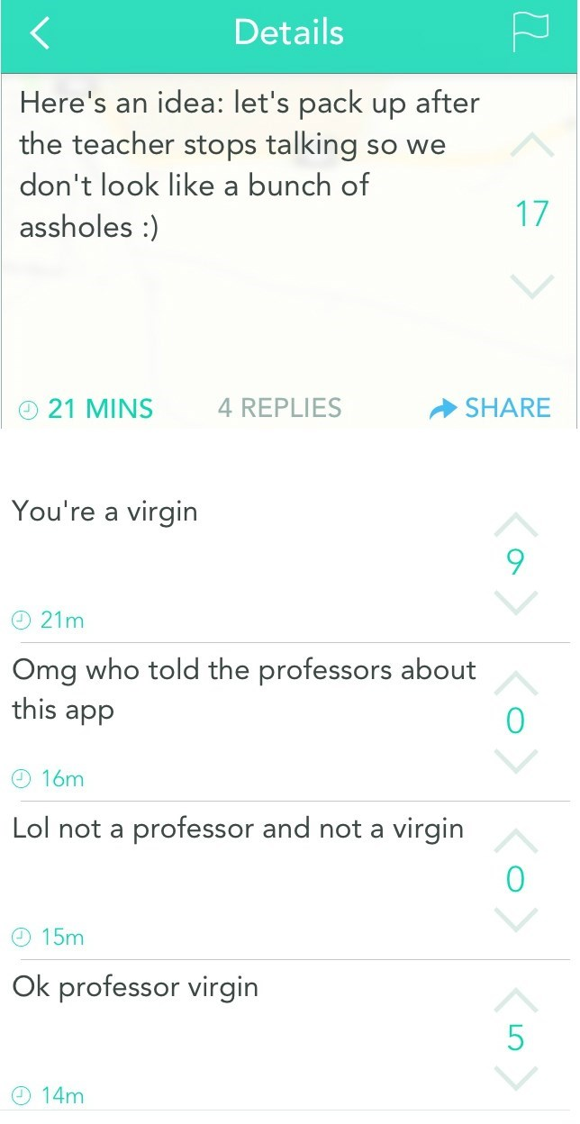 image school yik yak Whoa, Don't Call the Professor out by His Name! This Is Supposed to Stay Anonymous