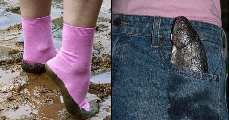 uncomfortable images, cursed images, stepping in mud in pink socks, fish in jeans pocket