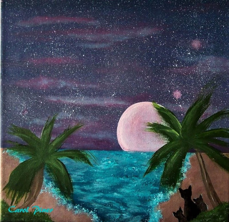 I just painted this for fun. 12x12 stretched canvas called Moon Watching
