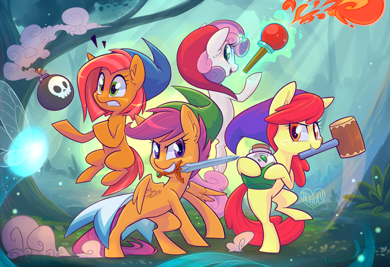 Sweetie Belle,apple bloom,legend of zelda,babs seed,cutie mark crusaders,Scootaloo